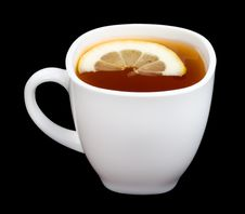 Free Cup Of Tea With Lemon On Black Stock Images - 9051704
