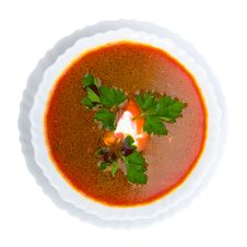 Soup From Beet With Sour Cream View From Above Stock Photography