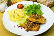 Free Grilled Pork Steak With Noodles And Lettuce Stock Photos - 9052383