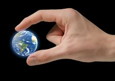 Earth In Hand Isolated Stock Photo
