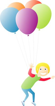Free Boy Flying On Balloons Stock Photo - 9053030