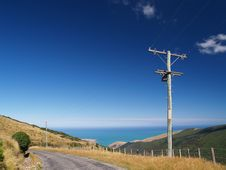 Free Powerlines In Banks Peninsula Stock Image - 9053701