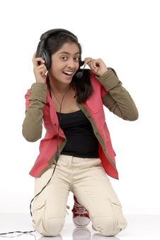 Free Young Girl Listening Music Stock Photo - 9054210