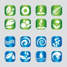 Free Set Of Nature Icons Stock Photo - 9054420