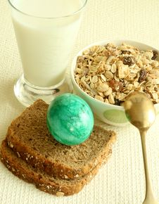 Free Muesli, Broad, Egg And Glass Of Milk Stock Photography - 9055592