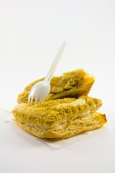 Pasty With Plastic Fork Royalty Free Stock Photography