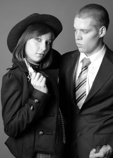 Couple Of Gangsters Royalty Free Stock Photo