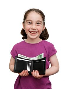 Smiling Little Girl Holds Wallet With Money Stock Photos
