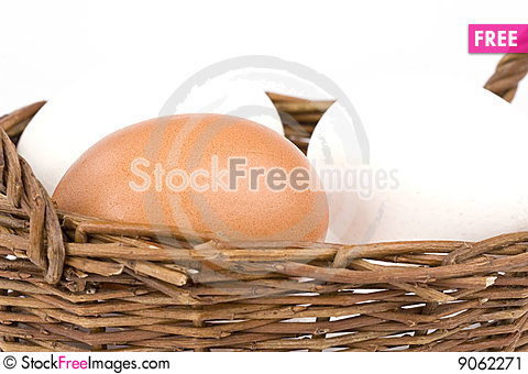 Free Eggs In A Basket Stock Image - 9062271