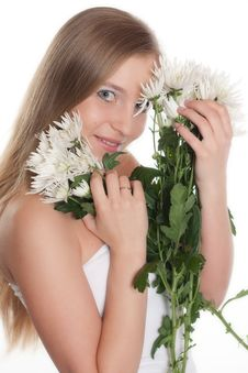 Free Girl With White Flowers Stock Images - 9060754