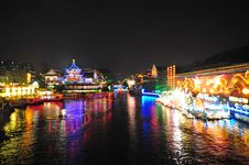 Free Night Scene Of Qinhuai River And Boats Stock Photos - 9060873