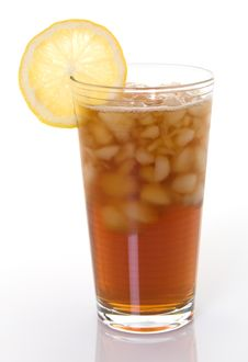 Glass Of Iced Tea With Lemon Royalty Free Stock Images