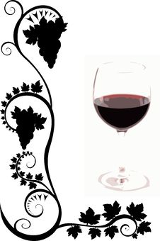 Free Wine Glass And Flourishes Stock Photography - 9062842