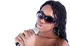 Young Afro-american Singer Stock Photo