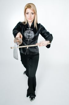 Free Attractive Woman In Japanese Shirt With Sword Stock Photography - 9063742
