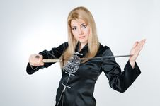 Free Portrait Of Beautiful Woman With Sword Stock Image - 9063751