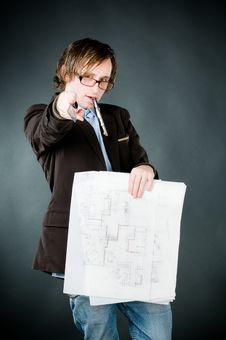 Free Young Architect With Sketch Royalty Free Stock Photos - 9063798