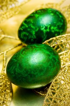 Easter Egg With Leaves Royalty Free Stock Photo