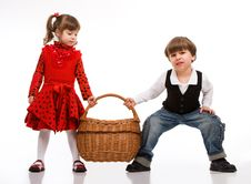Free Two Beautiful Children With Basket Stock Photography - 9064122