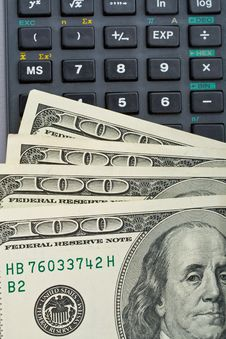 Many Us Dollars Over Calculator Stock Images