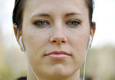 Free Beautiful Woman Wearing Ear Phones Stock Images - 9066894