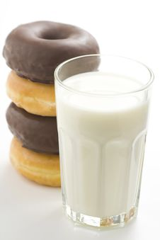 Free Breakfast Glass Of Chocolate Milk And Donut Stock Image - 9066971
