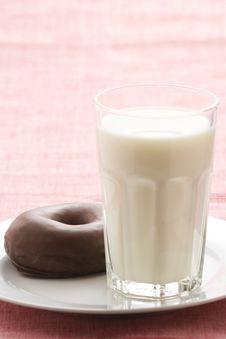 Free Breakfast Glass Of Chocolate Milk And Donut Stock Photo - 9067010