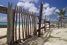 Free Fence On Cozumel Beach Royalty Free Stock Photo - 9068045