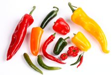 Free Various Peppers On White Royalty Free Stock Photo - 9068575