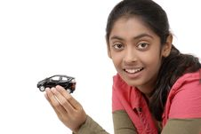 Free Young Girl Holding Her Dream Car Model Royalty Free Stock Photo - 9068605
