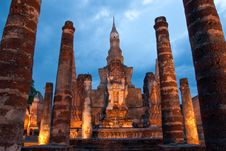 Twilight At Sukhothai Historical Park, Thailand Royalty Free Stock Image