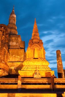 Twilight At Sukhothai Historical Park, Thailand Stock Image