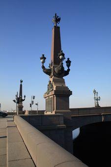 A Column On The Troitskiy Bridge Stock Images