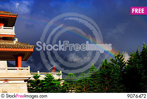 Chong-san Temple and Double Rainbow Stock Photo