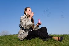 Free Girl Makes Soap Bubble Stock Photo - 9070440