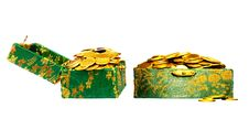 Free Gold Coins In A Box Royalty Free Stock Image - 9070686