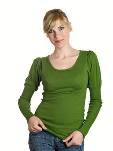 Free Beautiful Girl In Green Stock Image - 9071461