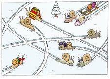 Free Nine Happy Snails Walking In Snow Stock Photography - 9071502