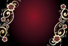 Free Red And Gold Floral Card Stock Image - 9071901