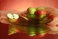 Free Apples And Ware On A Red Background Royalty Free Stock Photo - 9072955