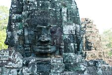 Bayon Temple Tower Faces 4 Stock Images