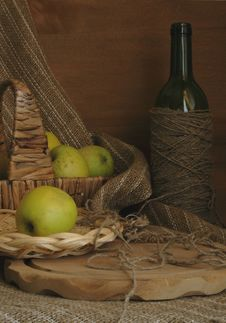 Free Still-life With Apples, A Basket And A Bottle Stock Photo - 9073080