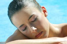Young Woman At The Pool Royalty Free Stock Photos