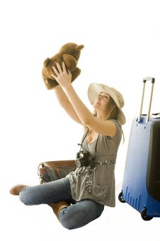 Woman Going On Vacation Royalty Free Stock Images