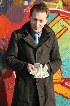 Free Man With Money Stock Image - 9074901