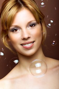 Free Young Woman With Soap Bubbles Stock Photo - 9075160