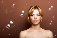 Free Young Woman With Soap Bubbles Stock Images - 9075164