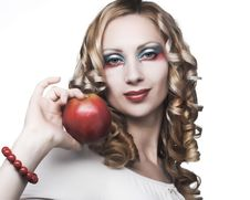 Free Blonde With Red Apple Stock Photo - 9075460