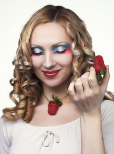 Free Young Woman With  Strawberry Stock Image - 9075461