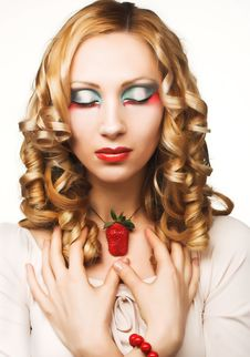 Free Young Woman With  Strawberry Stock Images - 9075464
